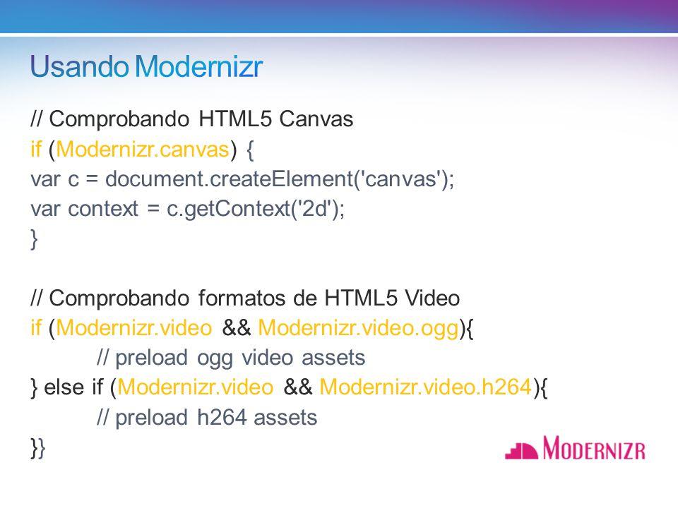 Usando Modernizr // Comprobando HTML5 Canvas if (Modernizr.canvas) {