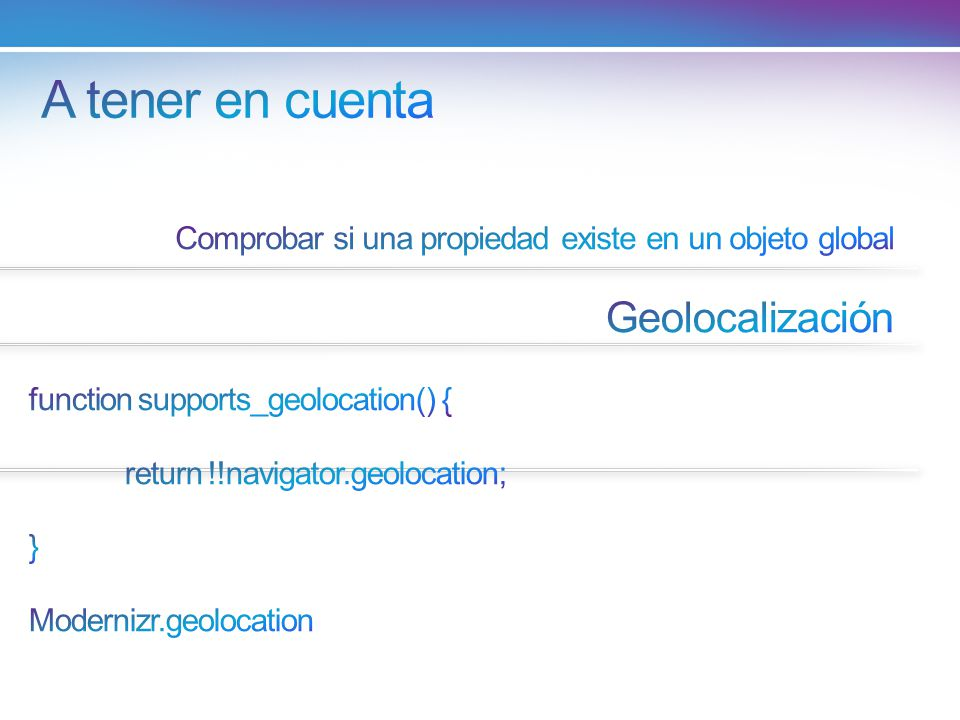 A tener en cuenta Geolocalización