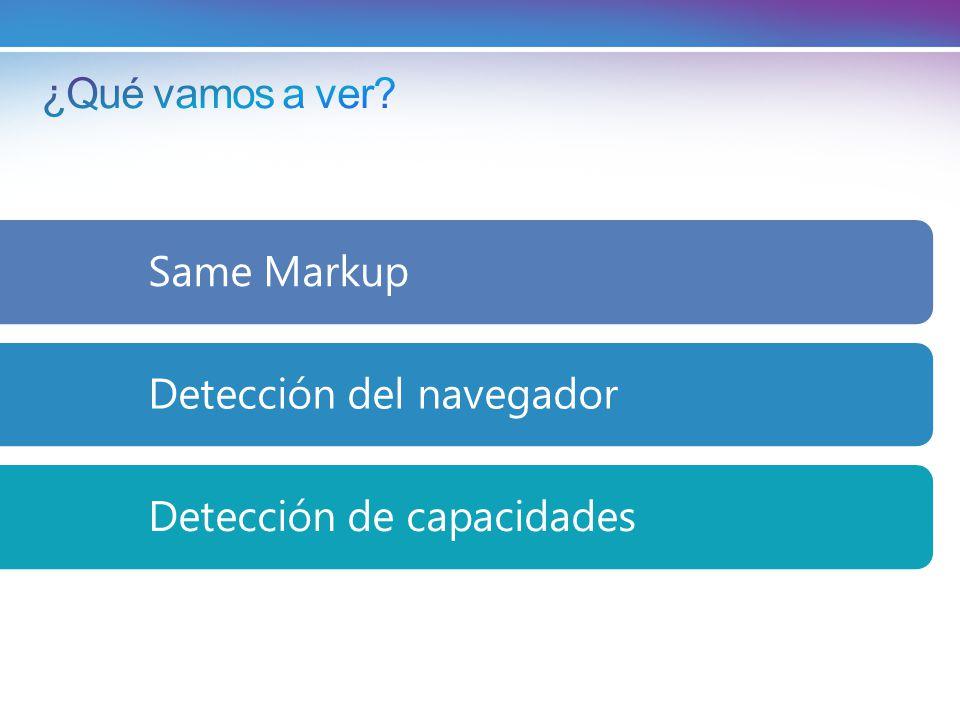 ¿Qué vamos a ver Same Markup Detección del navegador Detección de capacidades