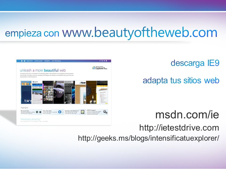www.beautyoftheweb.com msdn.com/ie empieza con descarga IE9