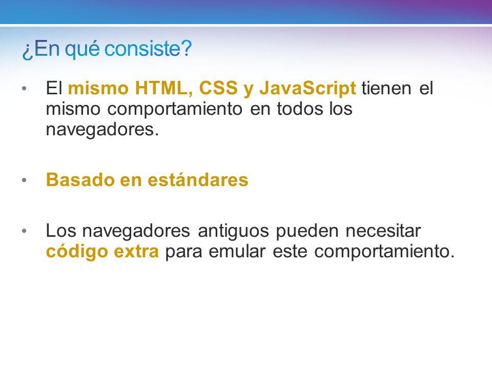 ¿En qué consiste El mismo HTML, CSS y JavaScript tienen el mismo comportamiento en todos los navegadores.