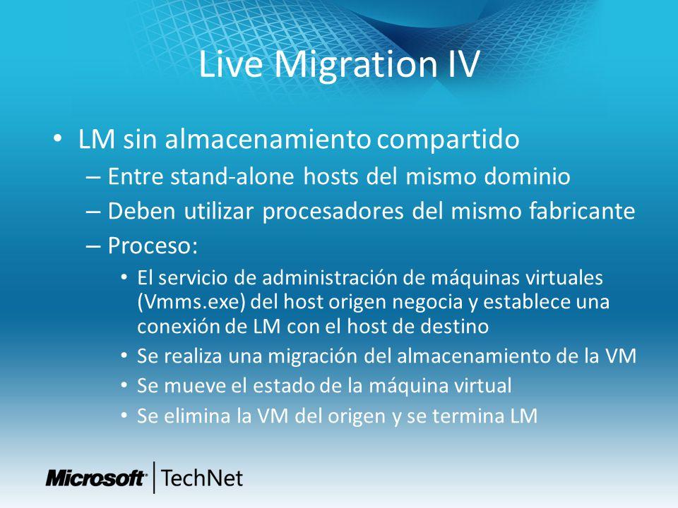 Live Migration IV LM sin almacenamiento compartido