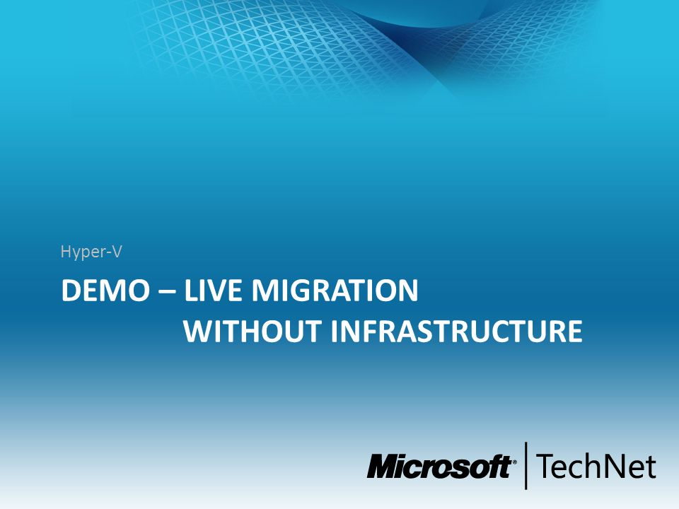 DEMO – Live MIGRATION without Infrastructure