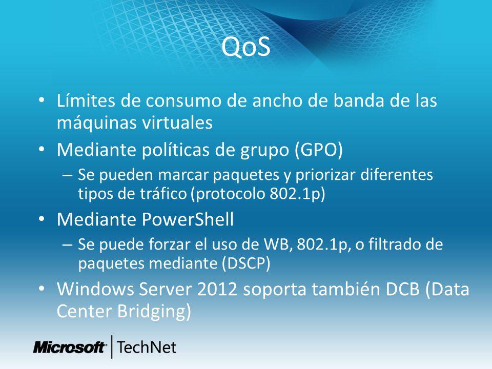 QoS Límites de consumo de ancho de banda de las máquinas virtuales