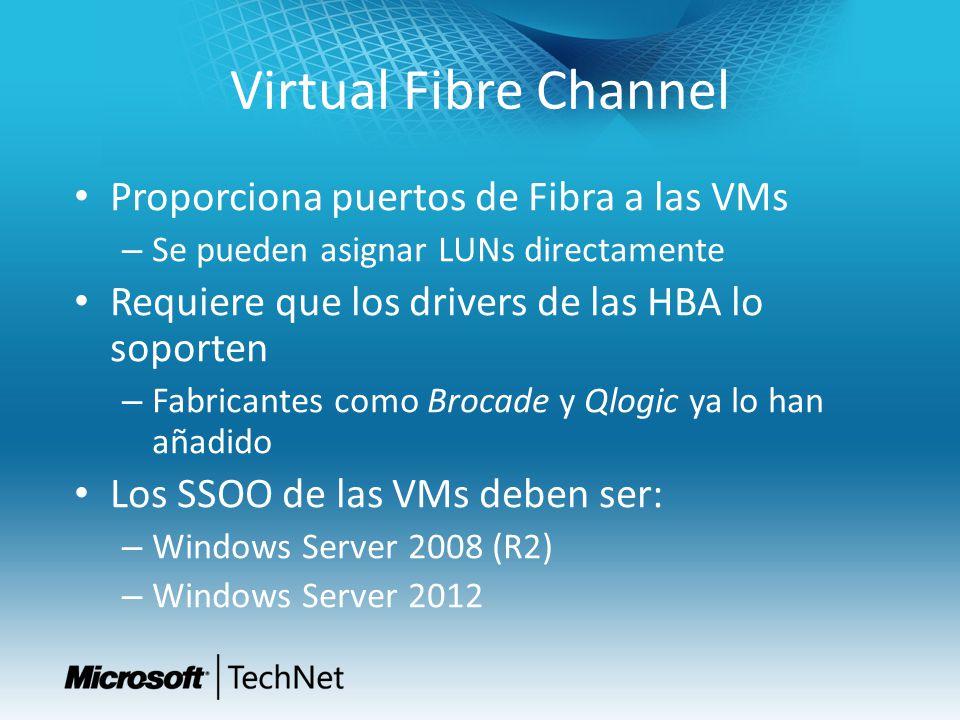 Virtual Fibre Channel Proporciona puertos de Fibra a las VMs