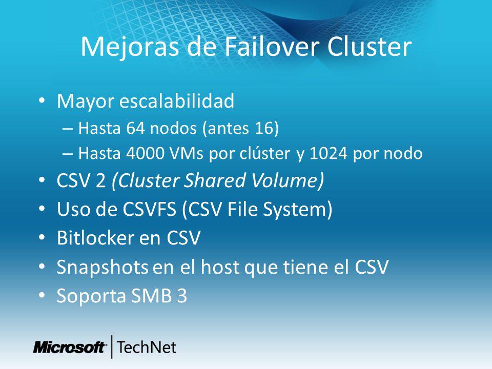 Mejoras de Failover Cluster