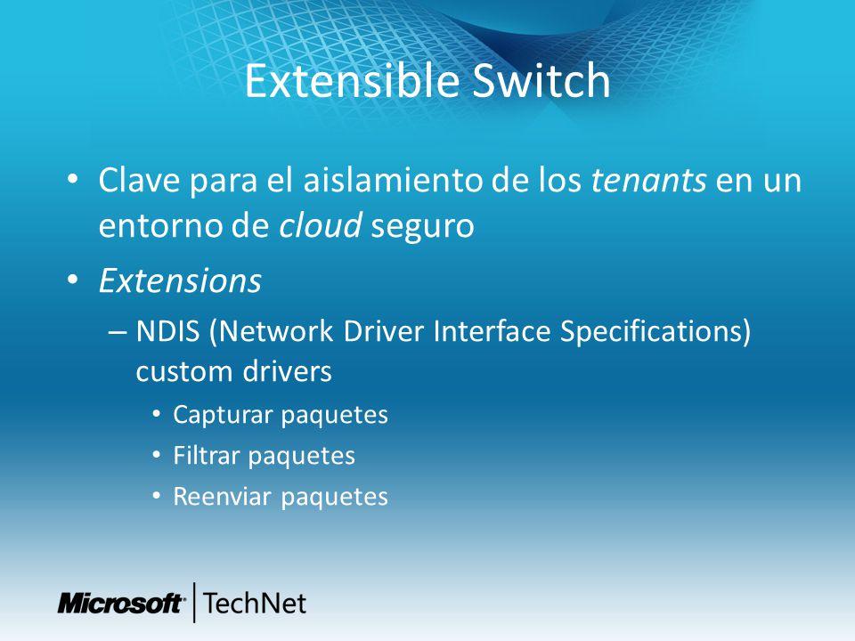 Extensible Switch Clave para el aislamiento de los tenants en un entorno de cloud seguro. Extensions.