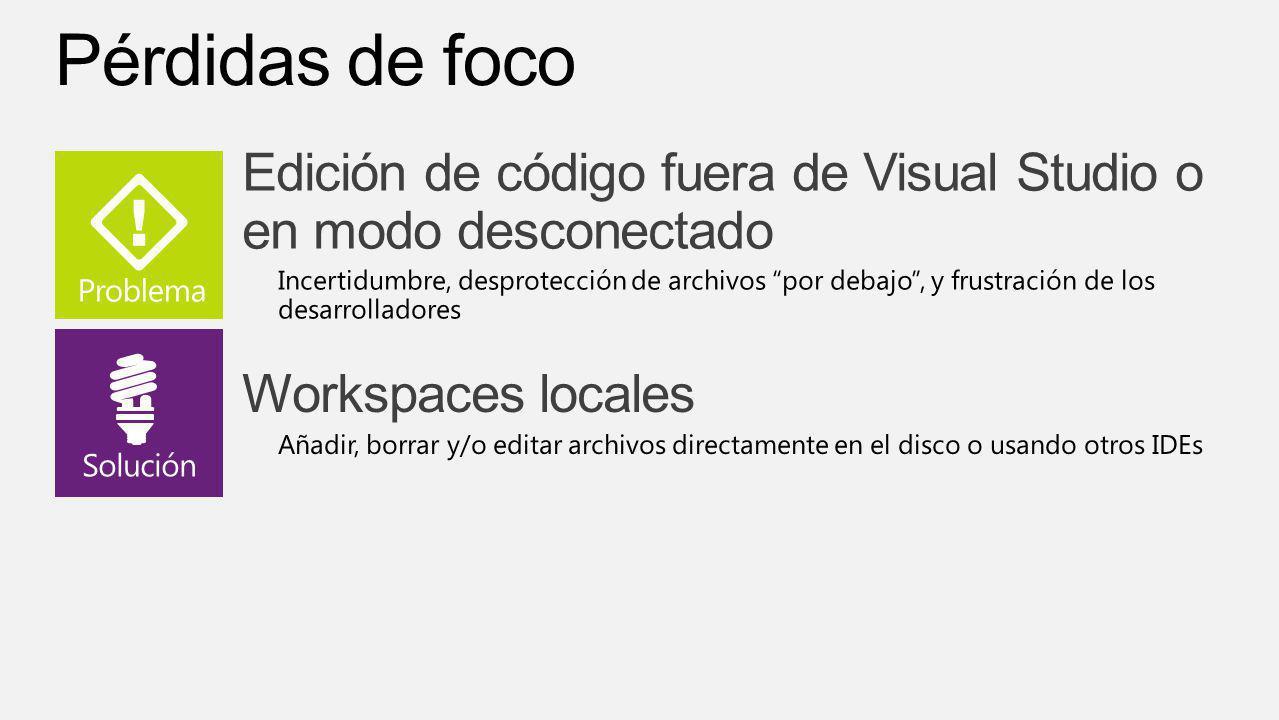 Visual Studio 11 4/1/2017. Pérdidas de foco. Edición de código fuera de Visual Studio o en modo desconectado.