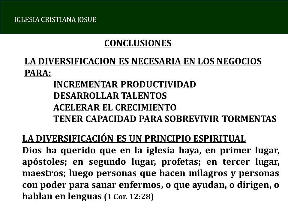 CONCLUSIONESLA DIVERSIFICACION ES NECESARIA EN LOS NEGOCIOS PARA: INCREMENTAR PRODUCTIVIDAD. DESARROLLAR TALENTOS.