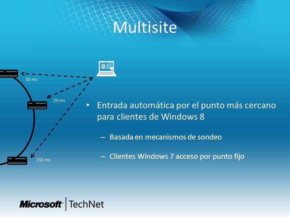 4/1/2017 6:51 PM Multisite. 50 ms. 20 ms. Entrada automática por el punto más cercano para clientes de Windows 8.