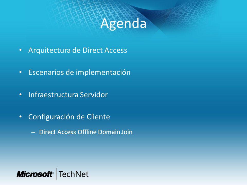 Agenda Arquitectura de Direct Access Escenarios de implementación