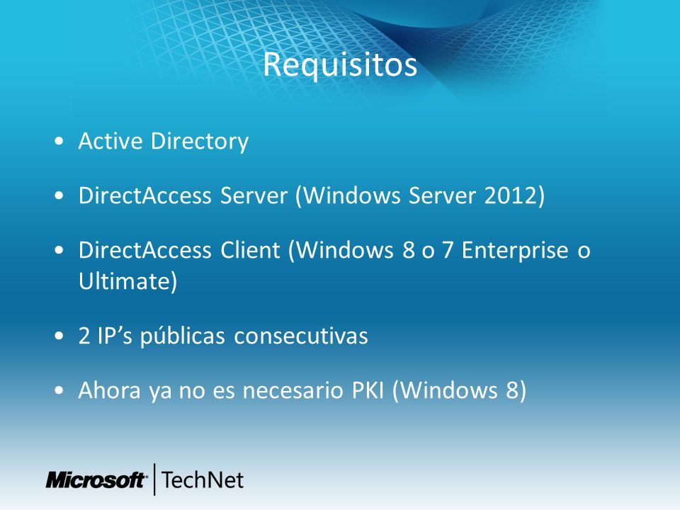 Requisitos Active Directory DirectAccess Server (Windows Server 2012)