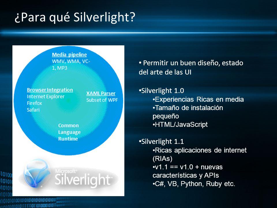 ¿Para qué Silverlight Permitir un buen diseño, estado del arte de las UI. Silverlight 1.0. Experiencias Ricas en media.
