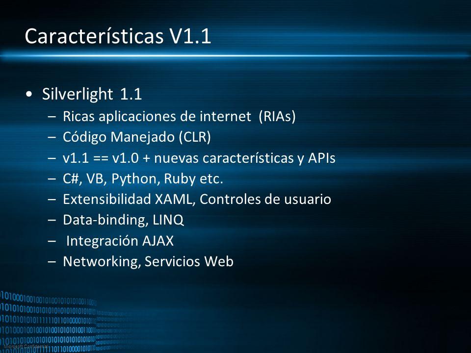 Características V1.1 Silverlight 1.1