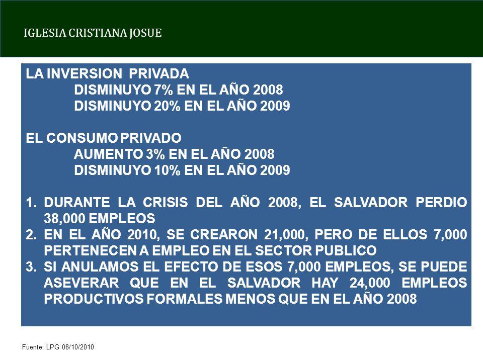 DURANTE LA CRISIS DEL AÑO 2008, EL SALVADOR PERDIO 38,000 EMPLEOS