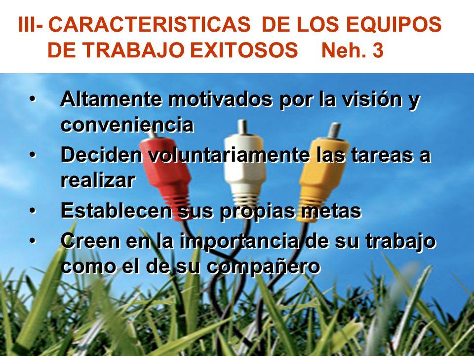 III- CARACTERISTICAS DE LOS EQUIPOS DE TRABAJO EXITOSOS Neh. 3