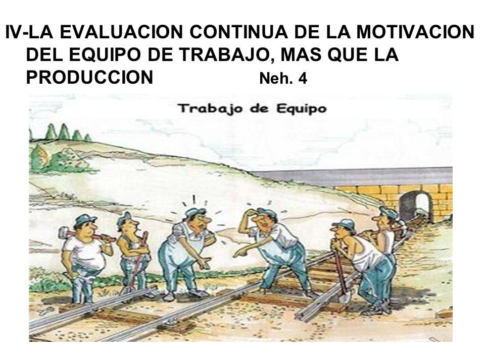 IV-LA EVALUACION CONTINUA DE LA MOTIVACION DEL EQUIPO DE TRABAJO, MAS QUE LA PRODUCCION Neh. 4
