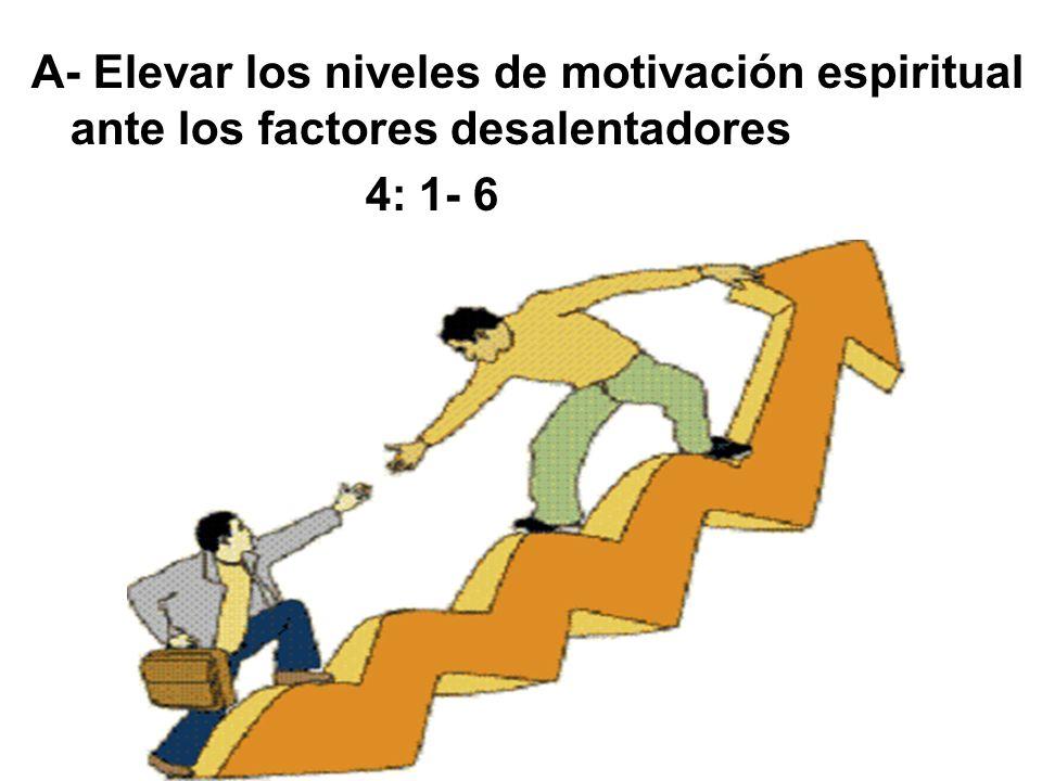 A- Elevar los niveles de motivación espiritual ante los factores desalentadores