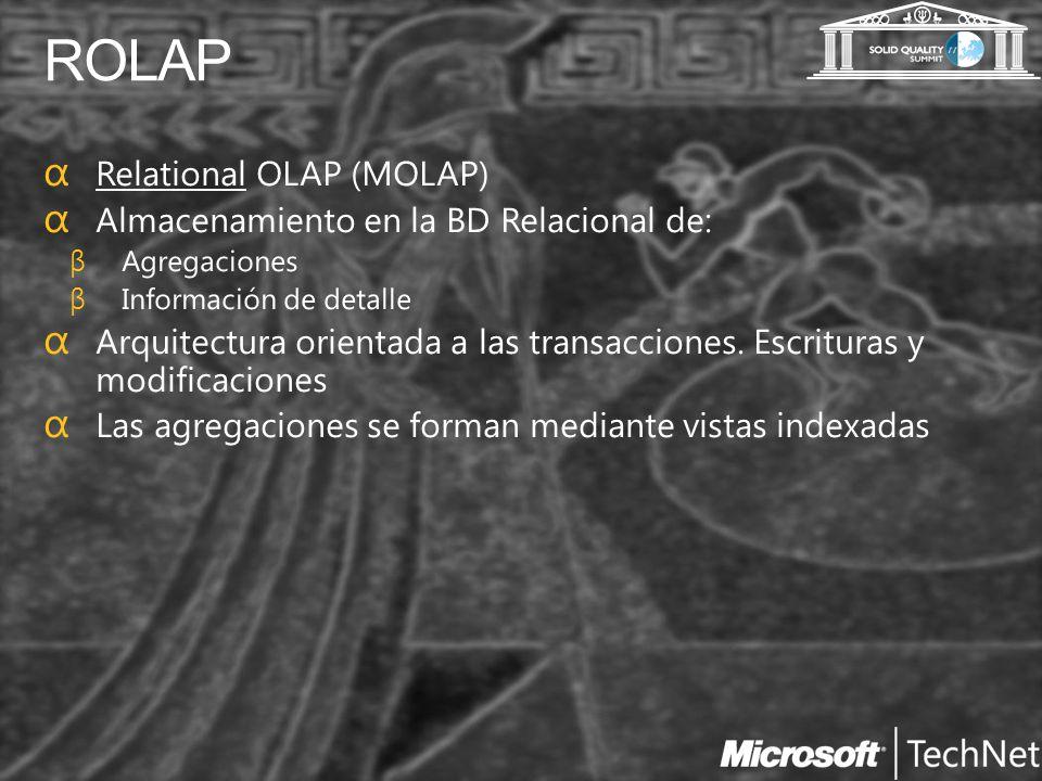 ROLAP Relational OLAP (MOLAP) Almacenamiento en la BD Relacional de: