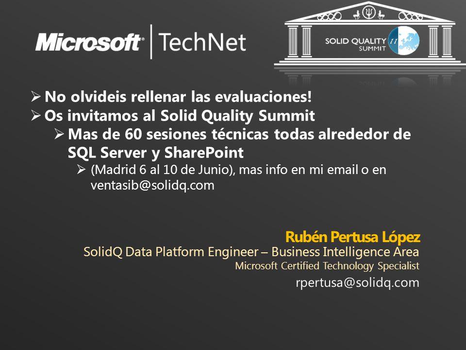 Rubén Pertusa López SolidQ Data Platform Engineer – Business Intelligence Area. Microsoft Certified Technology Specialist.
