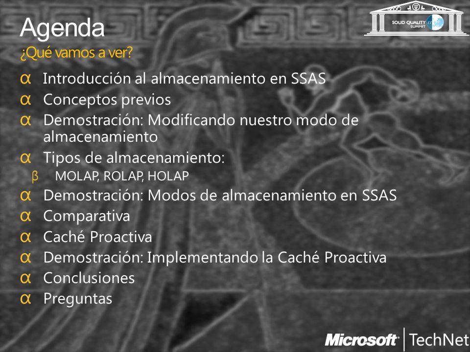 Agenda ¿Qué vamos a ver Introducción al almacenamiento en SSAS