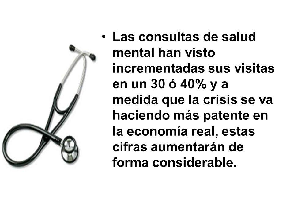 Las consultas de salud mental han visto incrementadas sus visitas en un 30 ó 40% y a medida que la crisis se va haciendo más patente en la economía real, estas cifras aumentarán de forma considerable.