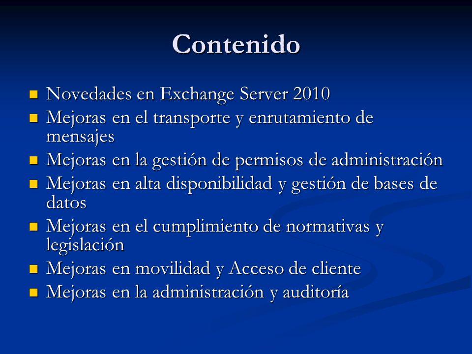 Contenido Novedades en Exchange Server 2010