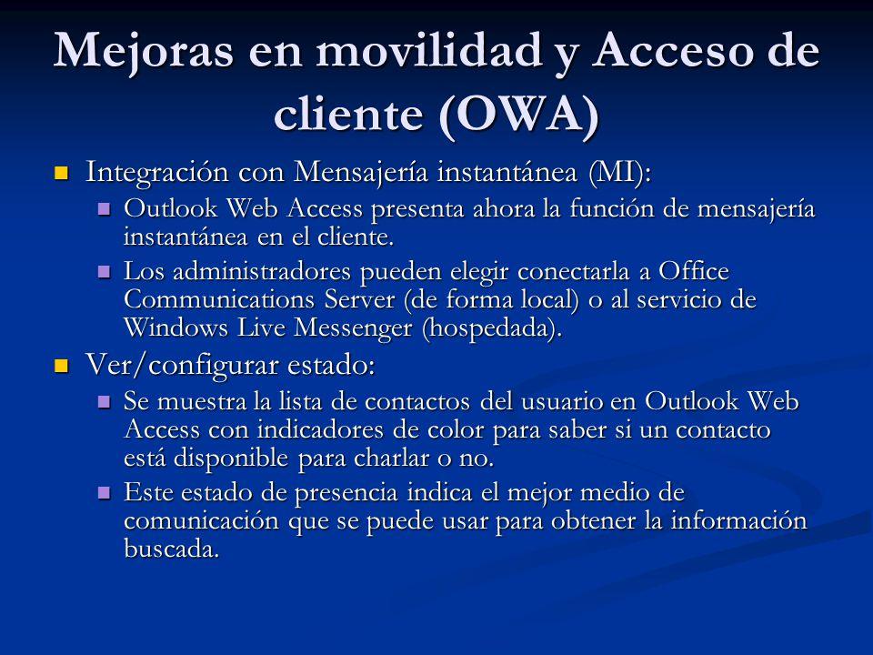 Mejoras en movilidad y Acceso de cliente (OWA)
