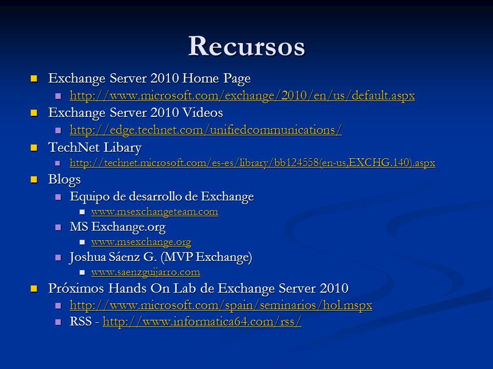 Recursos Exchange Server 2010 Home Page Exchange Server 2010 Videos
