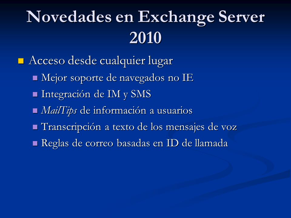 Novedades en Exchange Server 2010