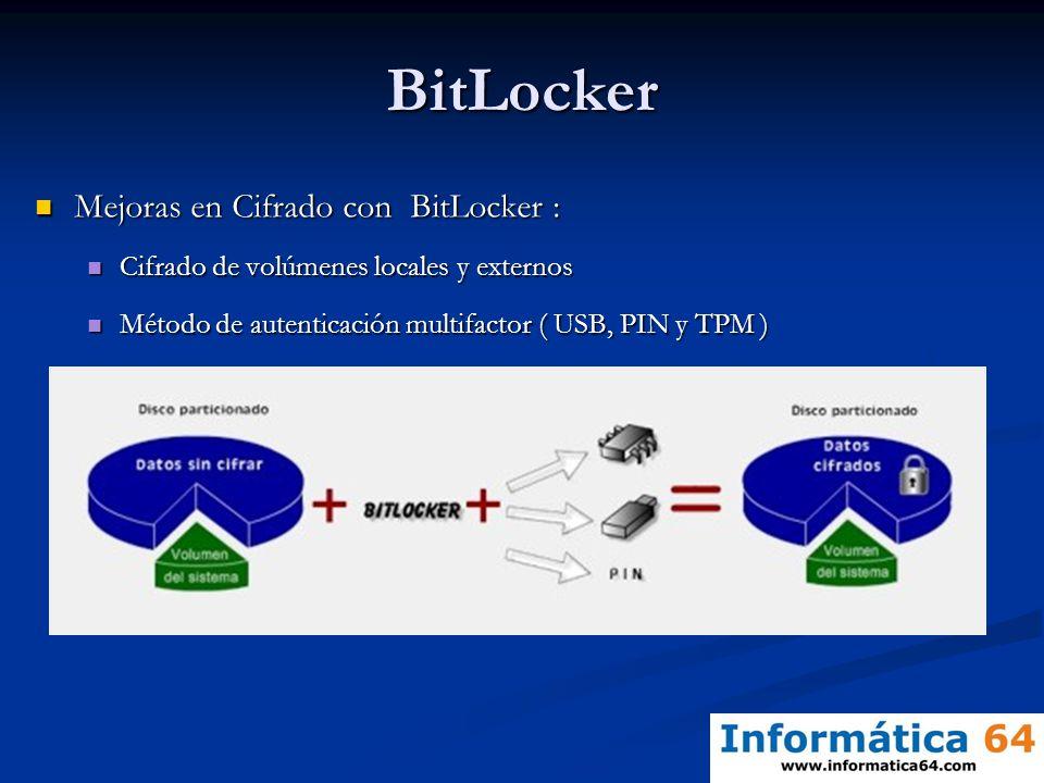 BitLocker Mejoras en Cifrado con BitLocker :
