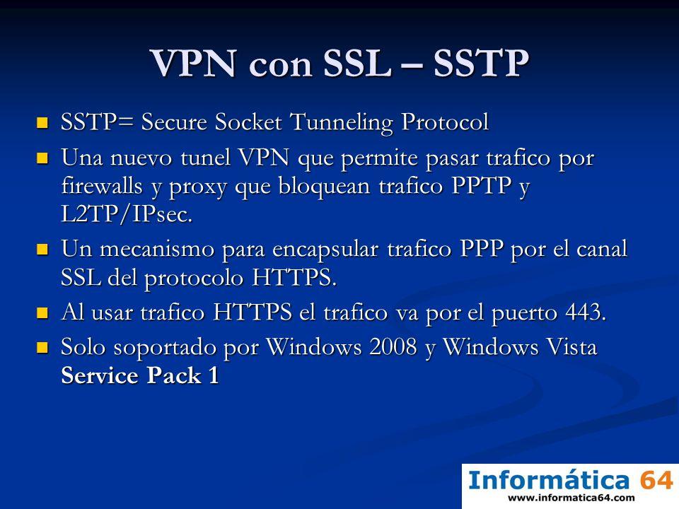 VPN con SSL – SSTP SSTP= Secure Socket Tunneling Protocol