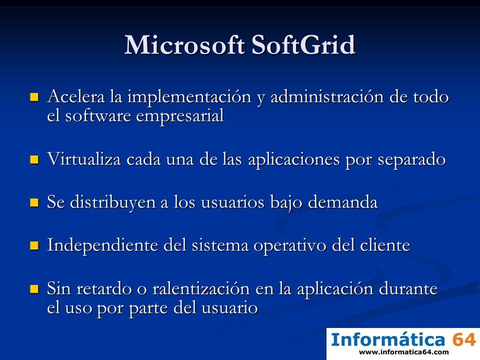 Microsoft SoftGrid Acelera la implementación y administración de todo el software empresarial. Virtualiza cada una de las aplicaciones por separado.