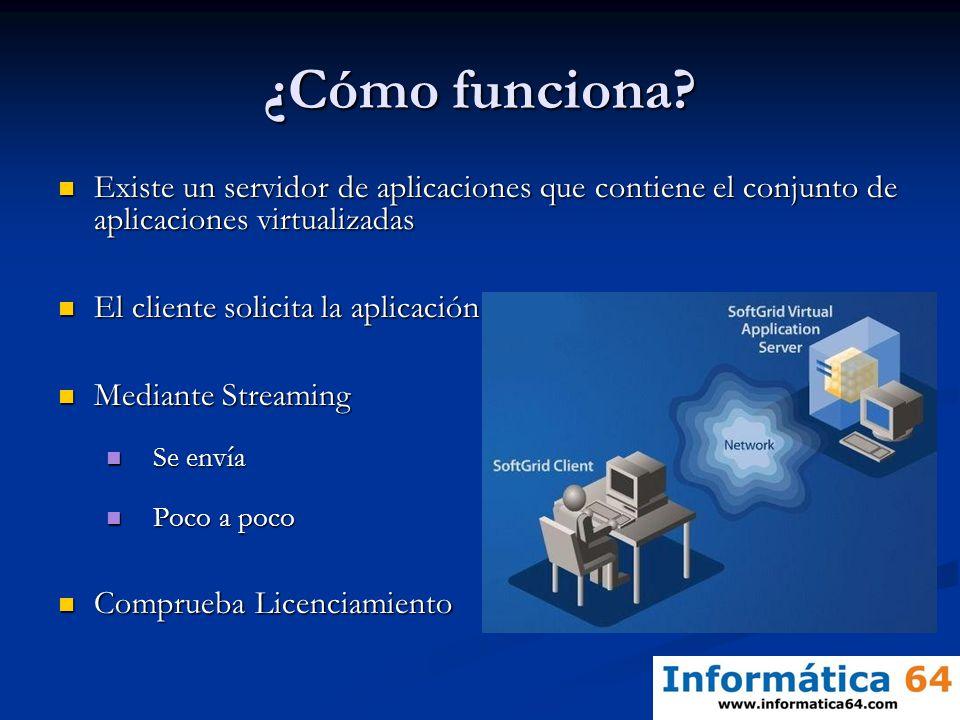 ¿Cómo funciona Existe un servidor de aplicaciones que contiene el conjunto de aplicaciones virtualizadas.
