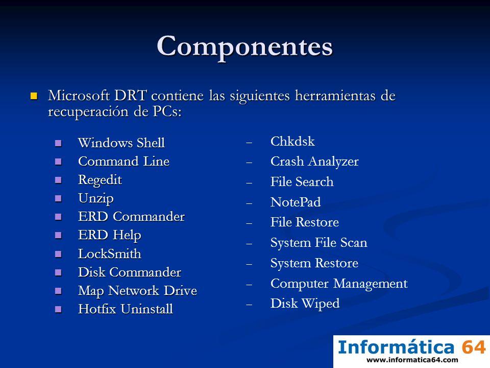 Componentes Microsoft DRT contiene las siguientes herramientas de recuperación de PCs: Windows Shell.