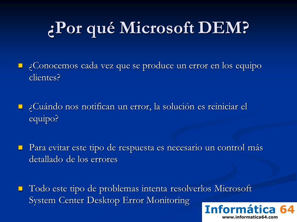 ¿Por qué Microsoft DEM ¿Conocemos cada vez que se produce un error en los equipo clientes