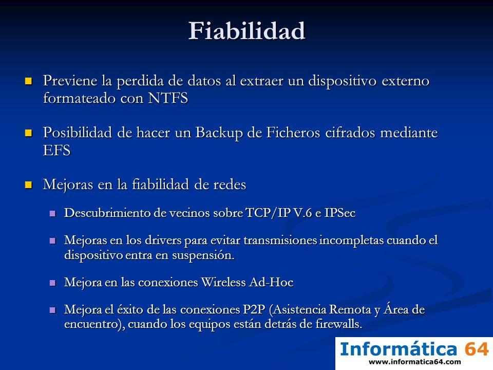 Fiabilidad Previene la perdida de datos al extraer un dispositivo externo formateado con NTFS.