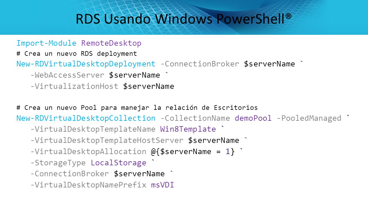 RDS Usando Windows PowerShell®