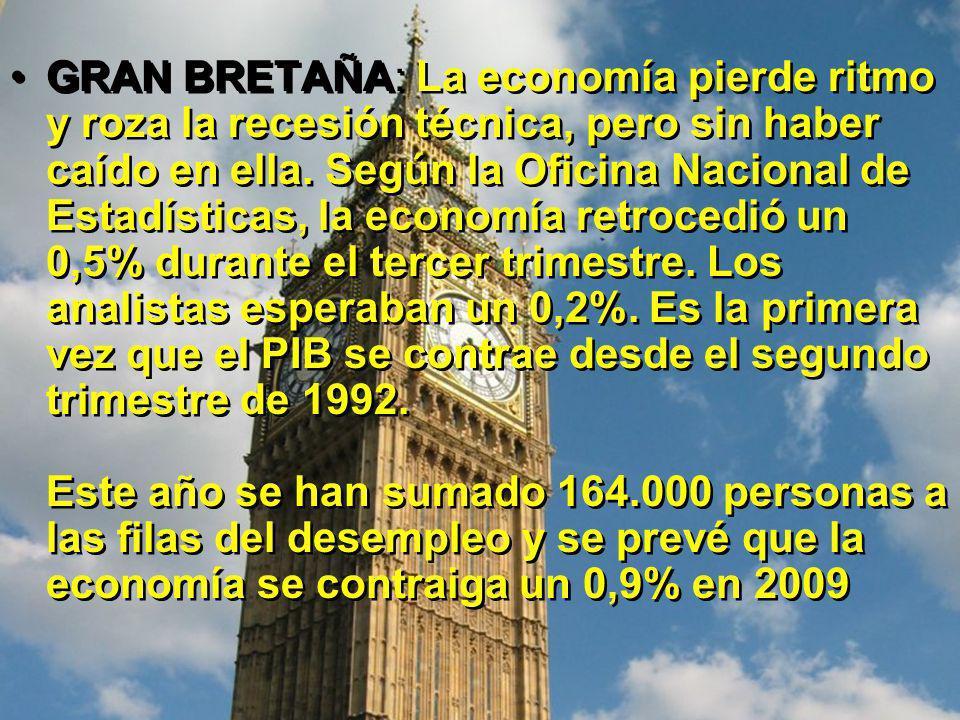 GRAN BRETAÑA: La economía pierde ritmo y roza la recesión técnica, pero sin haber caído en ella.