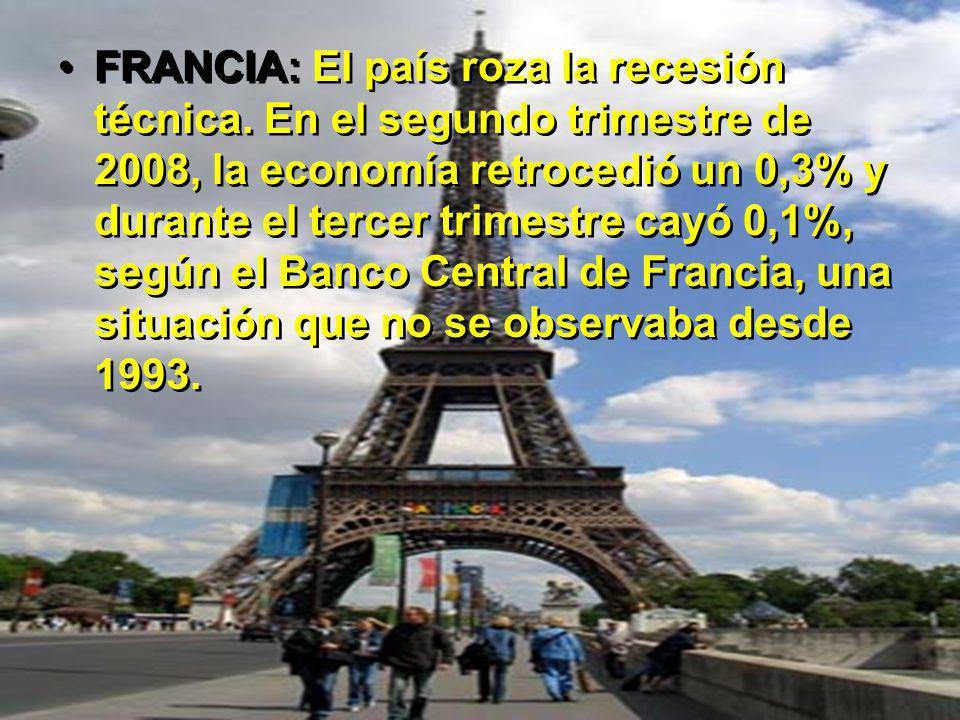 FRANCIA: El país roza la recesión técnica