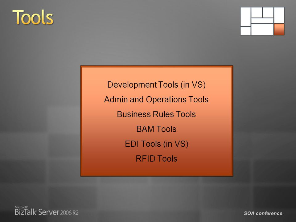 Tools Development Tools (in VS) Admin and Operations Tools