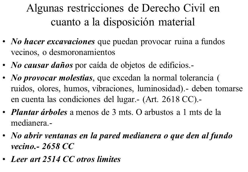 Algunas restricciones de Derecho Civil en cuanto a la disposición material