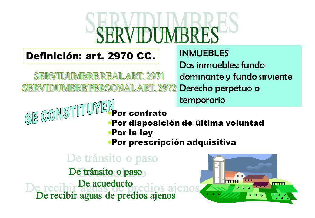 SERVIDUMBRES INMUEBLES Definición: art. 2970 CC.