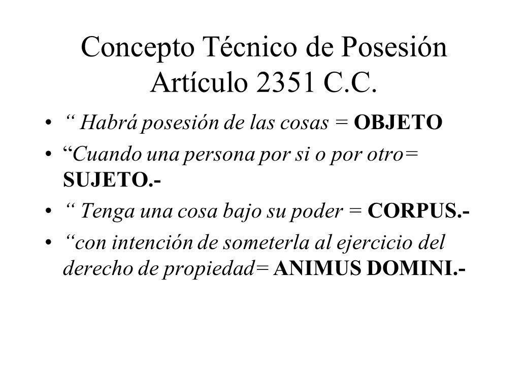 Concepto Técnico de Posesión Artículo 2351 C.C.
