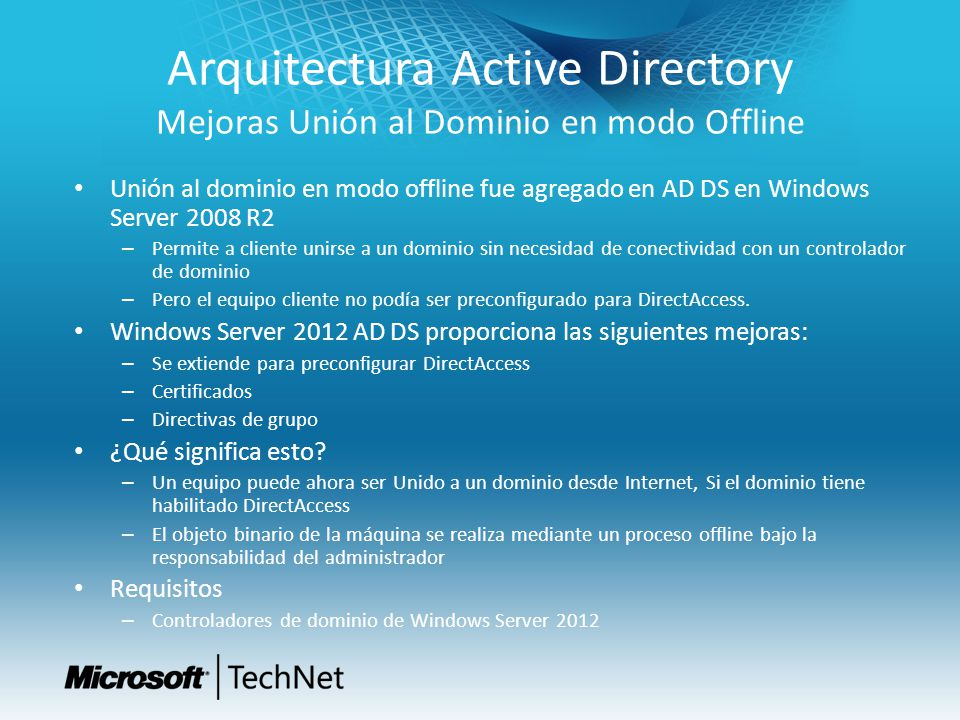 Arquitectura Active Directory Mejoras Unión al Dominio en modo Offline