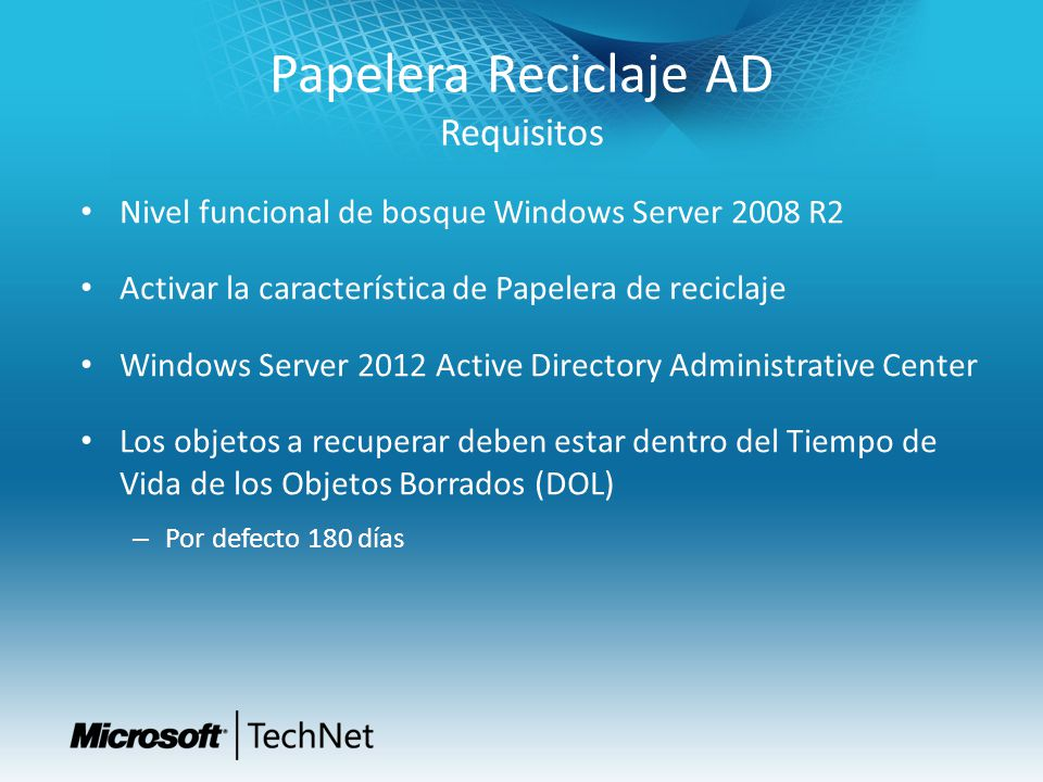 Papelera Reciclaje AD Requisitos