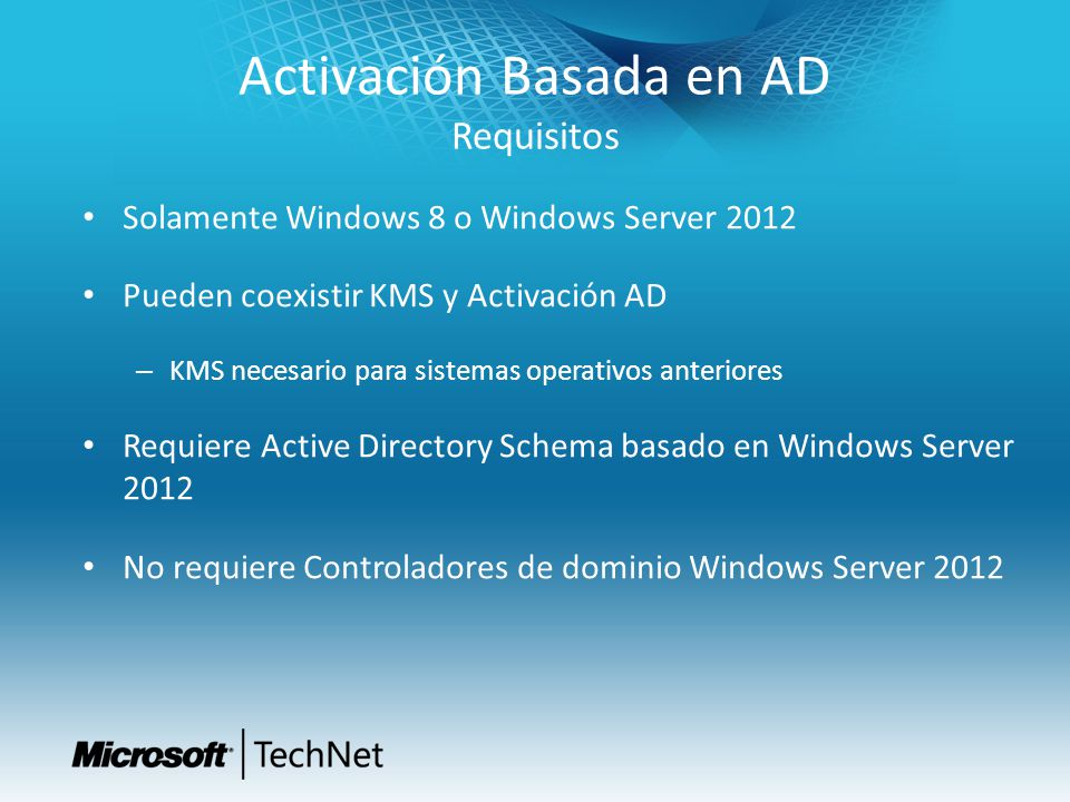 Activación Basada en AD Requisitos