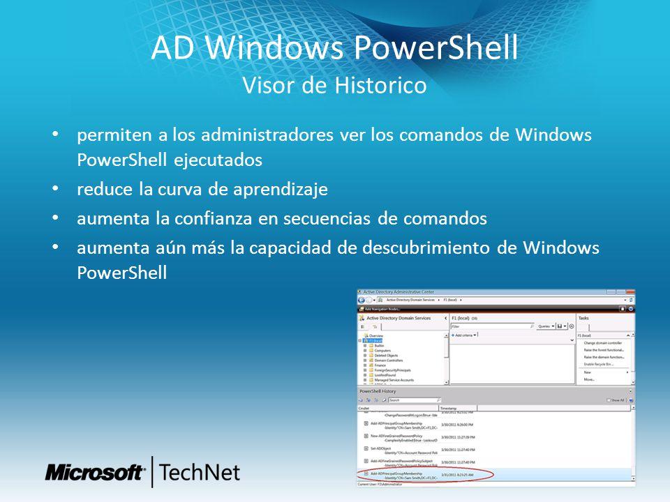 AD Windows PowerShell Visor de Historico