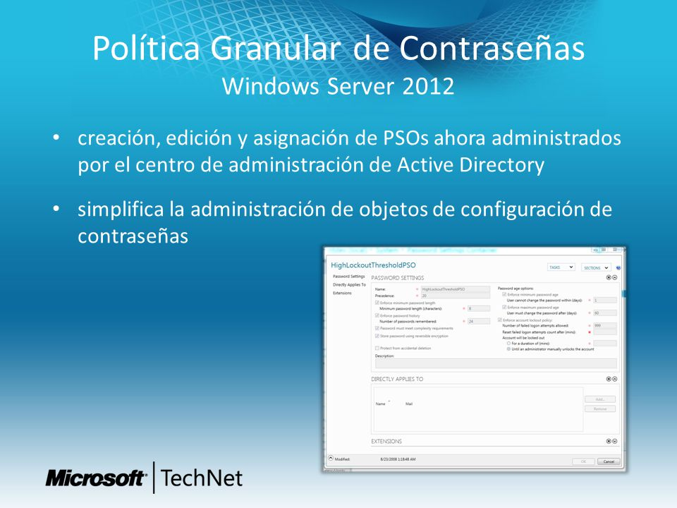 Política Granular de Contraseñas Windows Server 2012