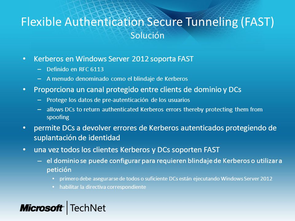 Flexible Authentication Secure Tunneling (FAST) Solución